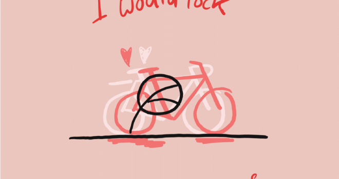 Drawing of two bikes at a bike rack on a pink background. Text: I would lock my bike to yours. Created by Bike Pittsburgh and shared at https://www.bikepgh.org/2020/02/07/6-valentines-for-your-favorite-bicyclists/