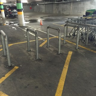 Is it bike parking? Maybe, but usually it is full of trolleys so it is hard to say for sure.