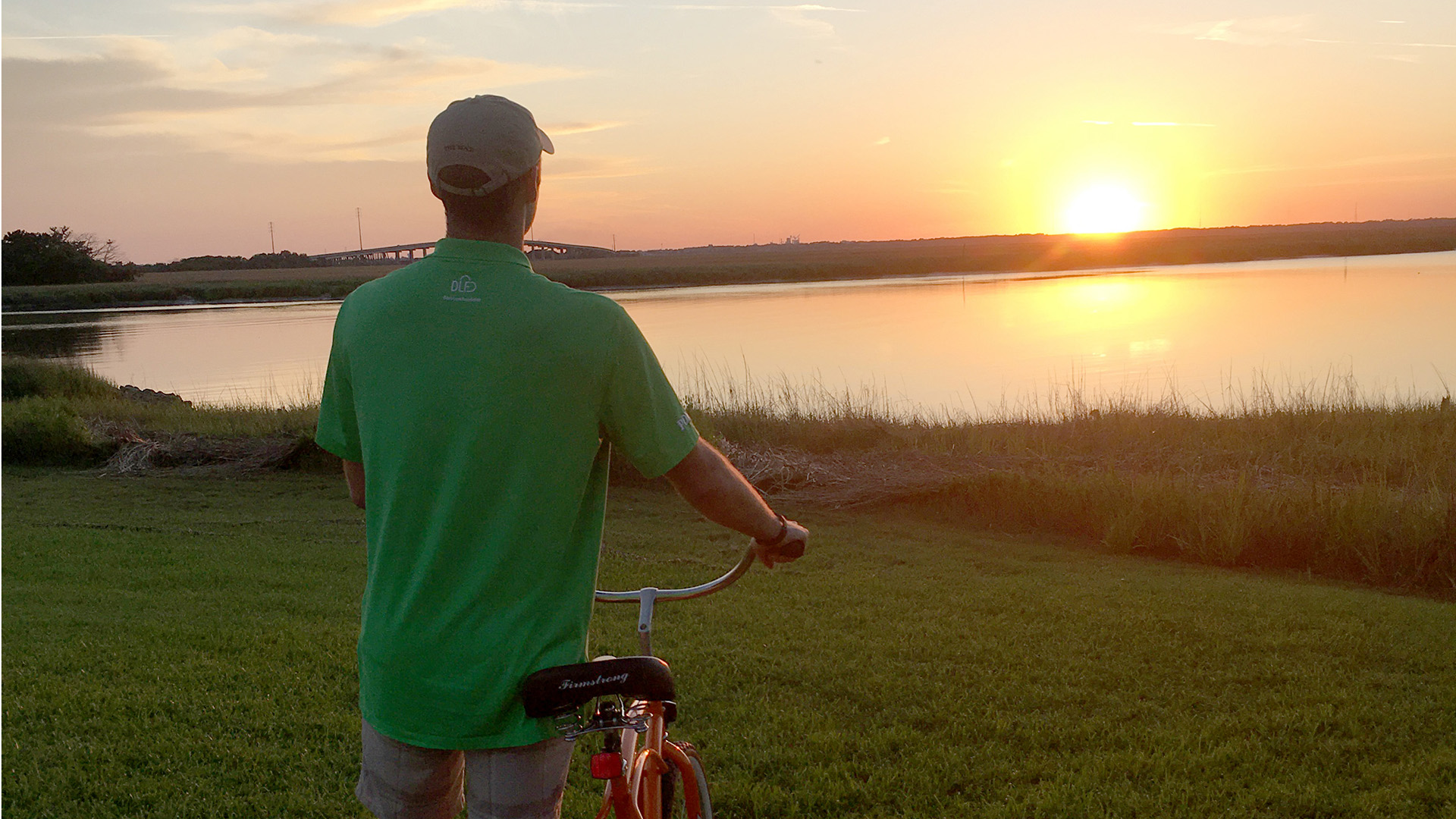 Orange Bike One Person James Parker Sunset-Epworth by the Sea -St Simons Island