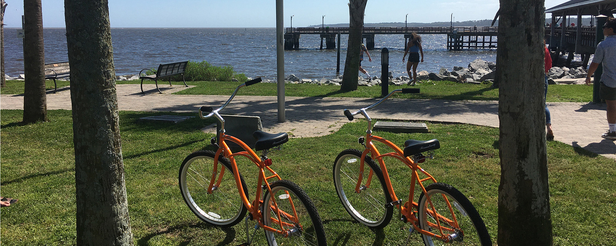 Two Orange Bikes on tour at Neptune Park St. Simons Island