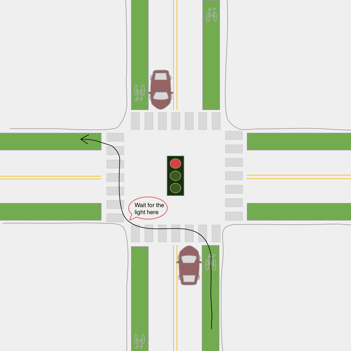 hight resolution of left turn on a bicycle red light pedestrian