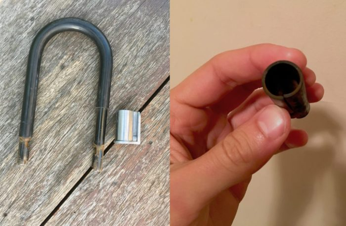 Cutting off the rubber of my abus lock to put on the bracket.