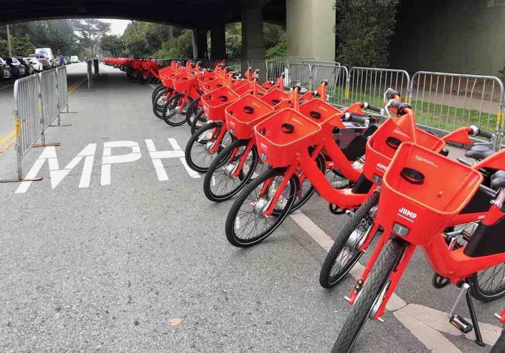 Jump bikes in golden gate park
