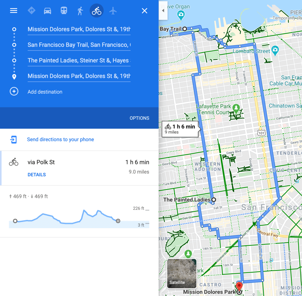 A loop of a nice hilly bike ride around San Francisco, going to the Marina, the Painted Ladies, and Dolores park.