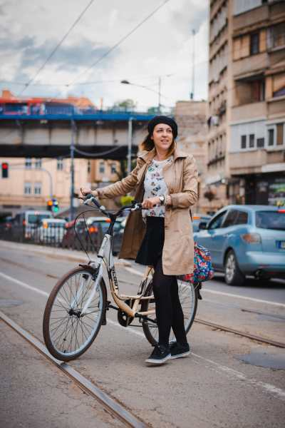 Ana with her commuter bike in Belgrade, Serbia.