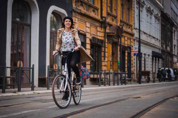 Ana riding her commuter bike in Belgrade, Serbia.