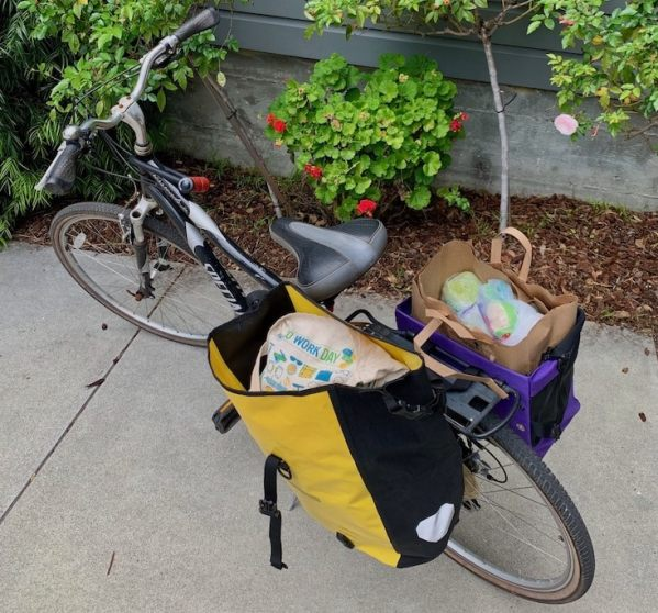hybrid commuter bicycle with 2 panniers attached to a rear bike rack. Carrying a bag of groceries and other things.