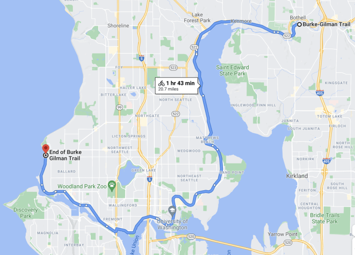 A google maps screenshot of the entire length of the burke gilman trail snaking through seattle and nearby towns.