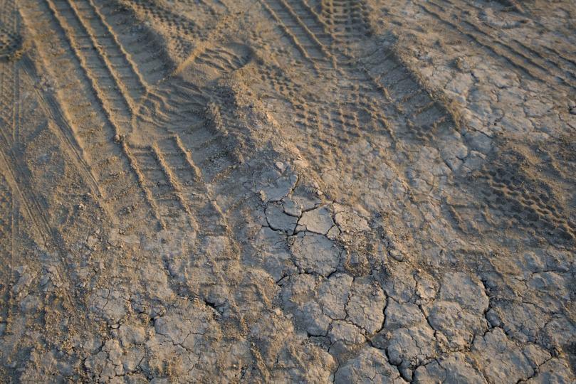 A close up of the playa surface at burning man