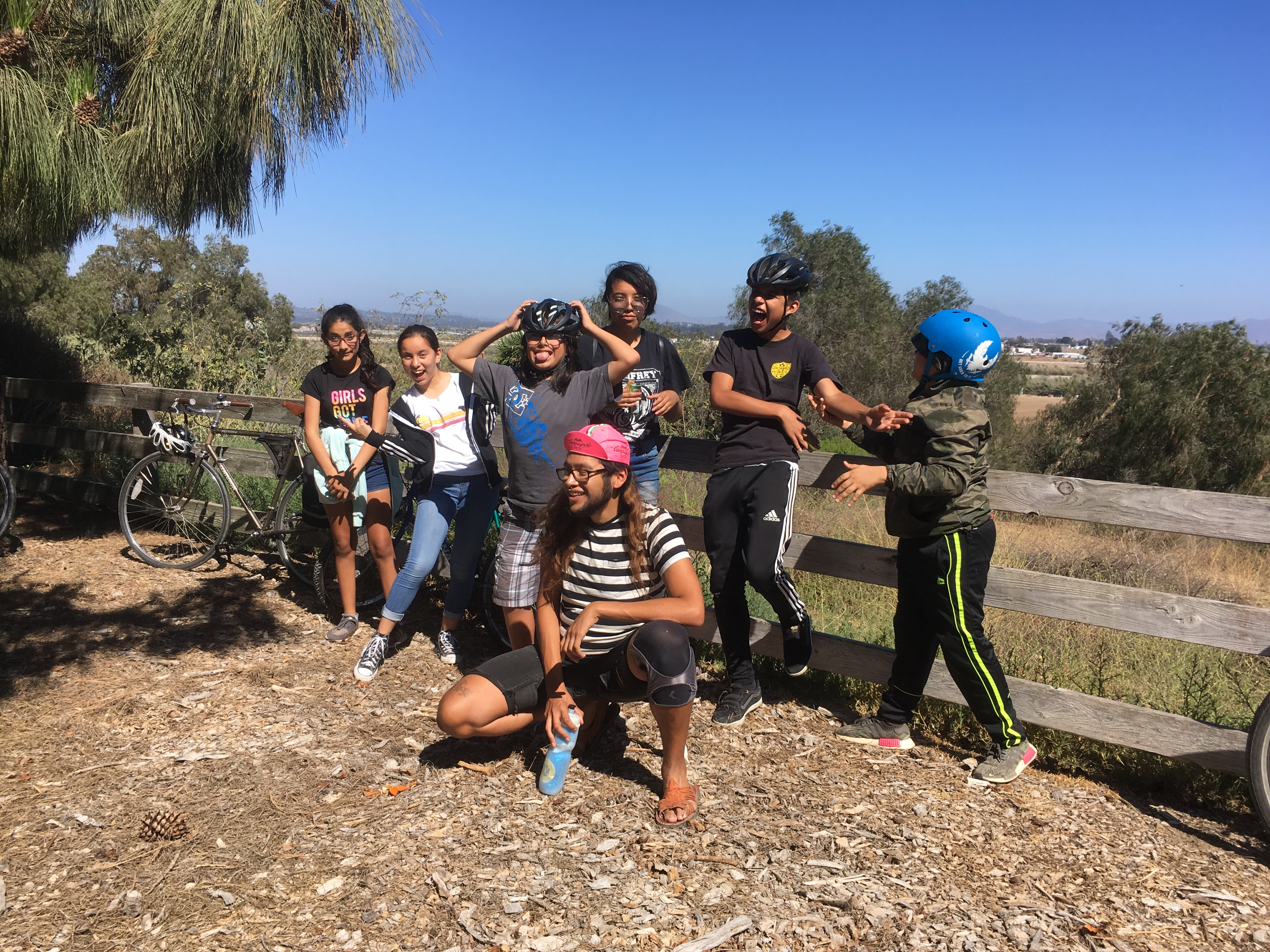 The group on their first ride out form Cabrillo Village, enjoying the trail