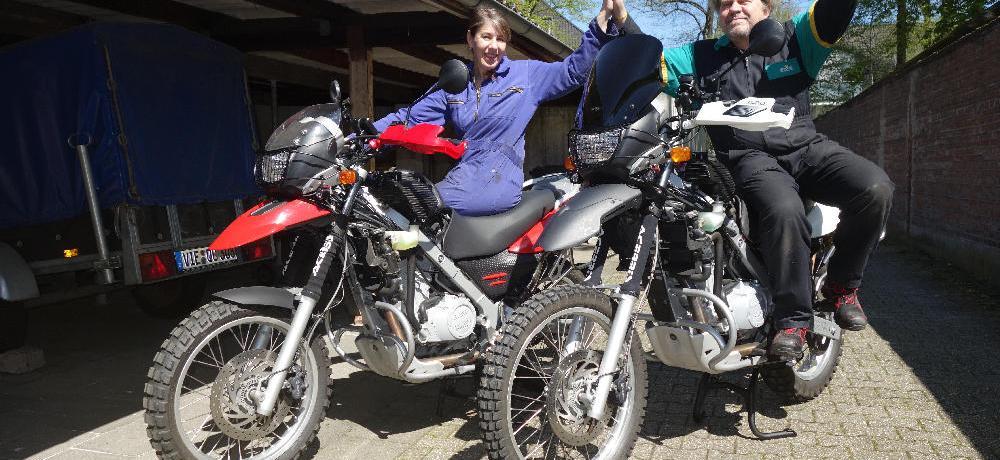 Die erste Probefahrt mit den fast fertigen Bikes