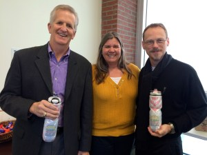 Image from Florida Bicycle Association: FDOT District 1 Secretary Billy Hattaway (Left) and State Bike/Ped Coordinator DeWayne Carver (Right) with FBA Polar water bottles in hand.