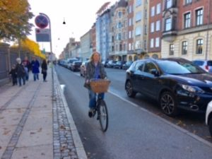This bike path in Copenhagen uses parked cars to shield people biking from traffic.