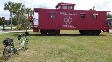 This caboose stands beside the trail at Inverness.