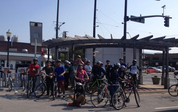 Students enjoying ice cream after riding to 3rd and Grand Street from East High School (May 5th).