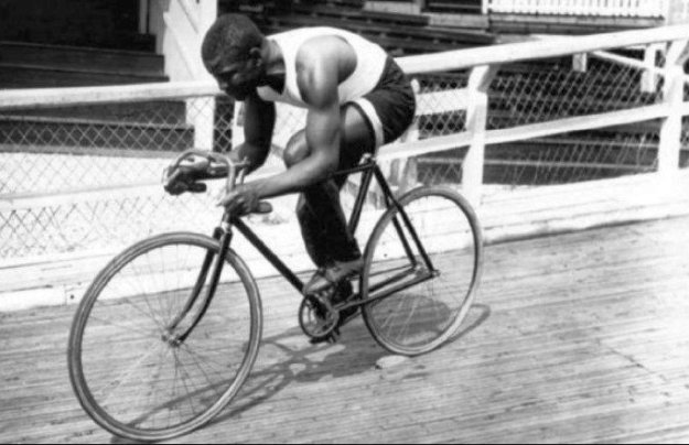 Major Taylor rides on a velodrome