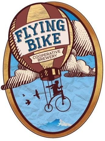 Flying Bike Brewery's Logo: a hot air balloon with wings powered by a cyclist