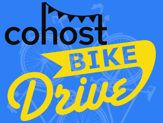A blue poster with the text cohost bike drive
