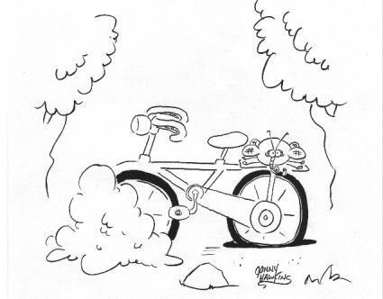 Bike cartoon by Jonny Hawkins