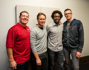 (L-R) Anthony Reguero, President PTE Events, Chris Carmichael, author Time-Crunched Cyclist, Rahsaan Bahati, President Bahati Foundation and Michael Bell, Oakley.
