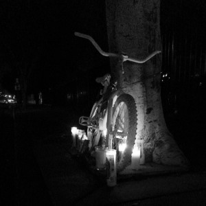 Ghost bike for Compton victim Pete; photo by Danny Gamboa