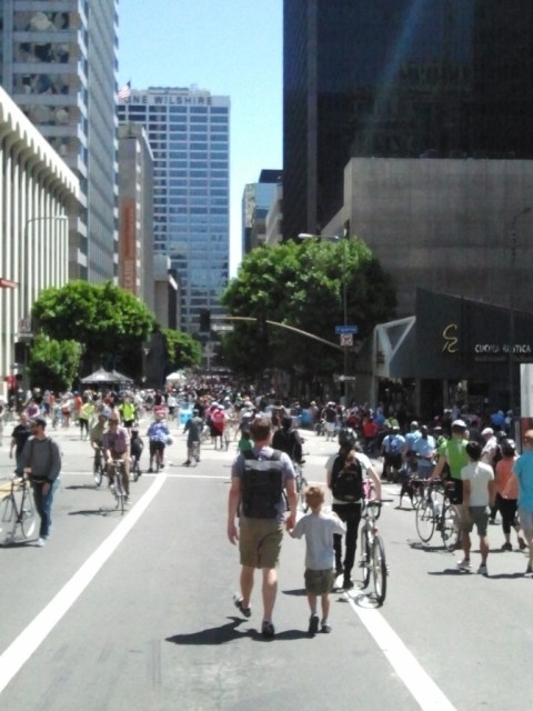 Just a small fraction of the crowd walking through the Dismount Zone at the DTLA hub.