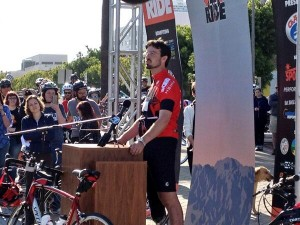 Hit-and-run survivor Damian Kevitt speaks at Finish the Ride. Photo courtesy of Joni Yung.