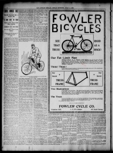The Palms neighborhood has a long bike history dating back to the 1890s; click and zoom in to read. Thanks to Jonathan Weiss for the image.