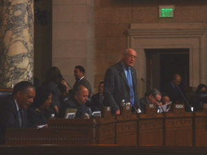 Bill Rosendahl addressing the city council to announce an end to cur culture in LA
