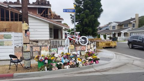 Ghost bike and memorial for Brock McCann; photo courtesy of Jeffrey Fylling