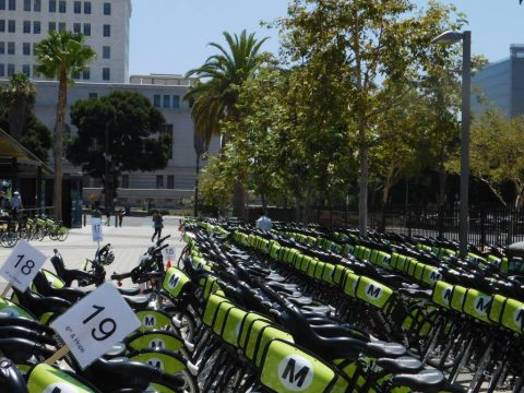 A massive fleet of Metro Bikes waiting to be deployed
