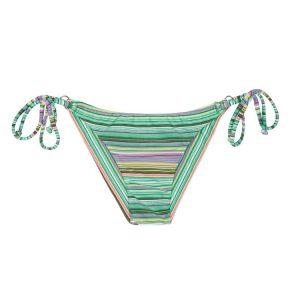 Grün gestreiftes Bikinihöschen mit Seitenschnüren - Calcinha Iemanja Cheeky