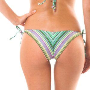 Rückansicht Grün gestreifte Bikinihose mit Seitenschnüren - Calcinha Iemanja Cheeky
