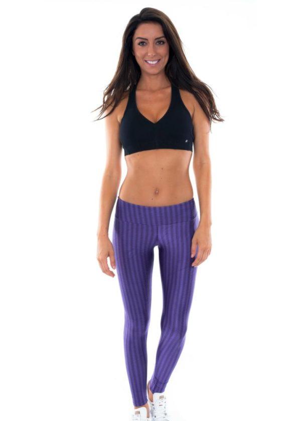 Lila texturierte Lack Fitness Leggings