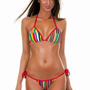 String Bikini mehrfarbig mit roten Rändern - Aguapei