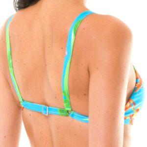 Sportliches blau geblümtes Strappy Crop-Top - Seitenansicht