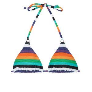 Bunt gestreiftes und texturiertes Triangel Bikini Oberteil - RiodeSol