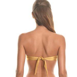Verdrehtes Bandeau Bikinioberteil gold - brasilianisch