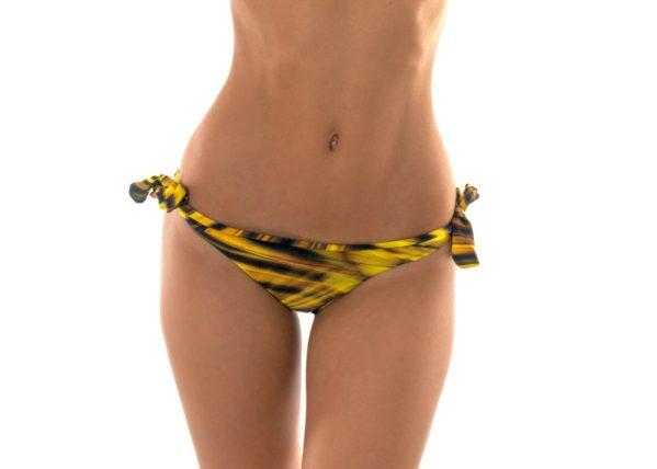 Bikinihose mit Seitenschnüre, Grafikmuster gelb-schwarz - Calcinha Luxor Nadador