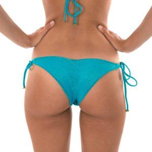 Blauer sexy Scrunch Tanga mit gewelltem Rand - Calcinha Radiante Azul Frufru