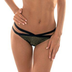 Schwarze Lurex Bikinihose mit Doppelschnüren - Calcinha Triangulo Radiante