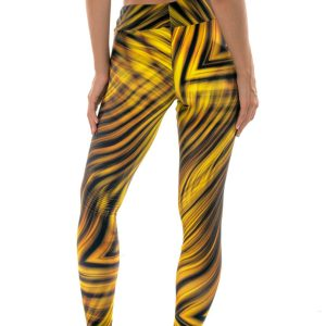 Gemusterte Fitness-Leggings gelb-schwarz - Rio de Sol