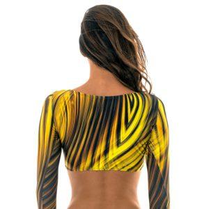 Langärmliges Crop-Top gelb-schwarz - Soutien Mlonga Luxor