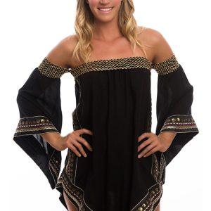 Strandkleid mit Stickerei im orientalischen Stil - Calicute Tunic Black