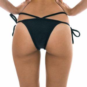 Texturierte Strappy Bikinihose, mit Seitenschnüre schwarz