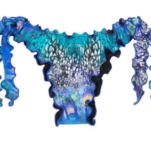 Bikinihose mit gewelltem Rand, Pfauenaugenmotiv - seitliche schnüre