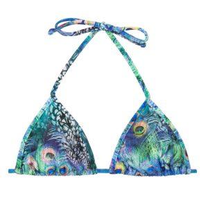 Verstellbares Bikini Triangel Top mit Pfauenaugenmotiv - Bikini-Top unwattiert