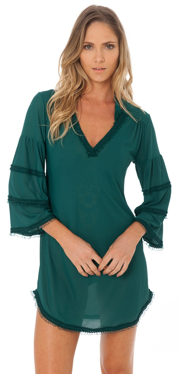 Grünes Strandkleid texturiert - DESPI - Ruffle Tunic Amazon