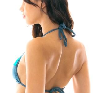Sexy Triangel-Top schieferblau strukturiert