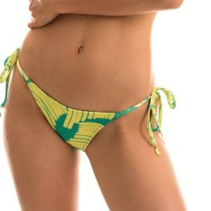 Grün gelbgemusterte Sexy Bikinihose mit Accessoire